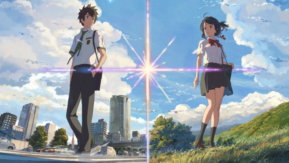 Taki and Mitsuha stand against a split background of Tokyo and the Japanese countryside.